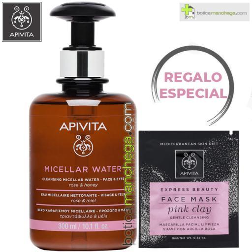 PROMO Agua Micelar Limpiadora Apivita Rostro y Ojos con Rosa y Miel, 300 ml + REGALO ESPECIAL Mascarilla Facial, 8 ml