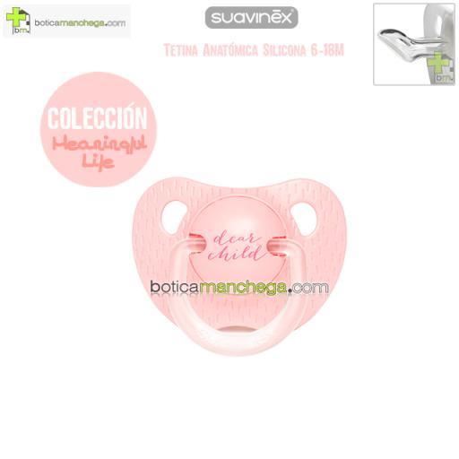 Chupete 6-18M Suavinex Evolution Tetina Anatómica Silicona Colección Meaningful Life Modelo Dear Child Rosa/Coral