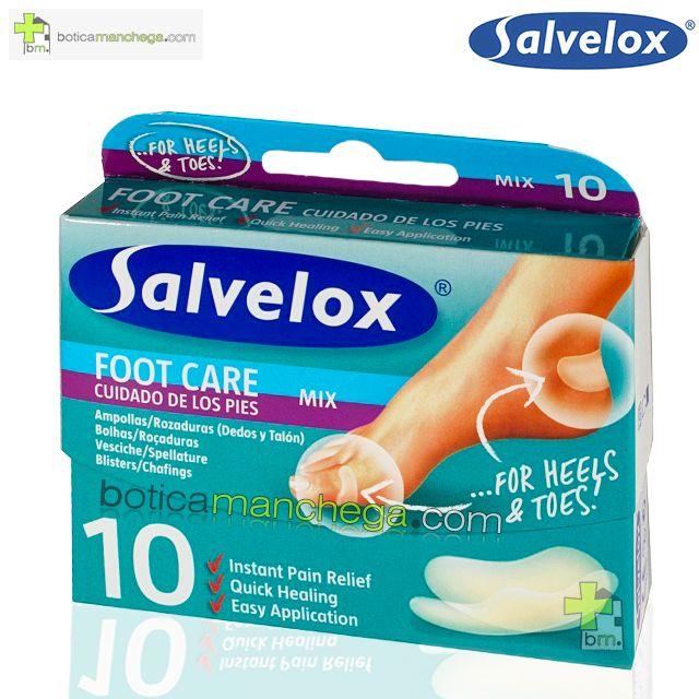 Salvelox FOOT CARE 10 Apósitos Adhesivos Ampollas y Rozaduras Mix Surtido Cuidado de los Pies (Dedos y Talón)