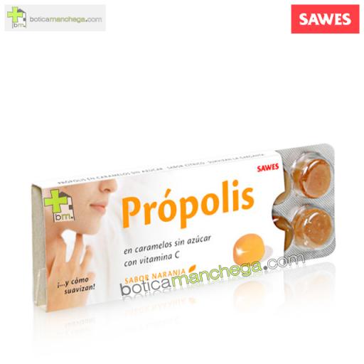 Própolis en Caramelos Sin Azúcar con Vitamina C sabor Naranja, 10 uds.