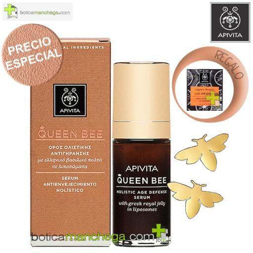Apivita QUEEN BEE Sérum Antienvejecimiento Holístico, 30 ml + REGALO: Mascarilla Facial a Elegir, 8 ml