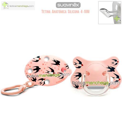 Pack Suavinex 4-18M Chupete Fusion Tetina Anatómica Silicona + Broche Pinza Clip Ovalado - Nueva Colección TOP TRENDS Swallows, Mod. Golondrinas Rosa