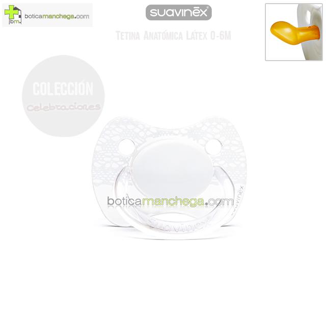 Suavinex Chupete CELEBRACIÓN 0-6M Blanco / Transparente, Tetina Anatómica Látex Mod. Imitación Puntilla - Liso