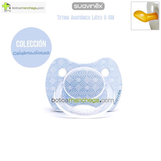 Suavinex Chupete CELEBRACIÓN 0-6M Azul Tetina Anatómica Látex