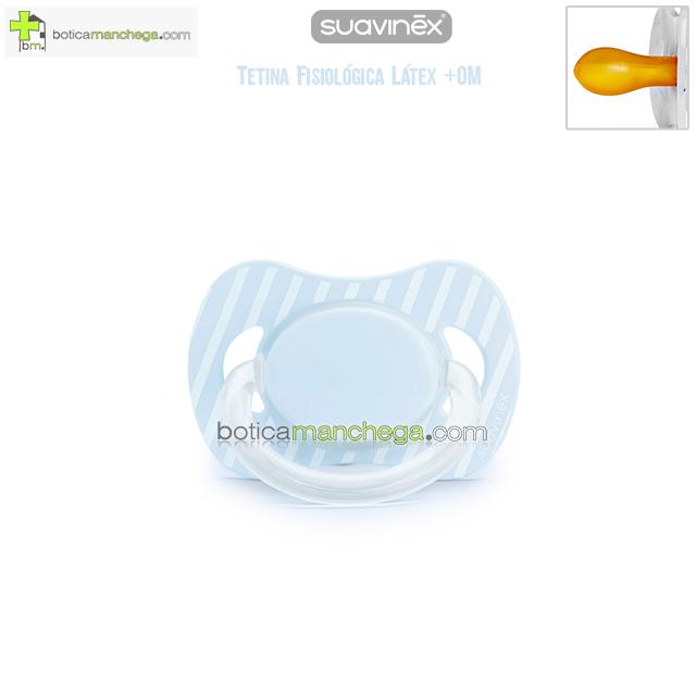 Suavinex Chupete +0M Tetina Fisiológica Látex Mod. Azul Rayas