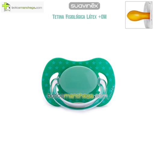 Suavinex Chupete +0M Tetina Fisiológica Látex Mod. Verde Estrellas