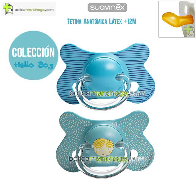 Pack 2 Chupetes Fusion +12M Suavinex Colección Hello Boy / Azul Rayas, Tetina Anatómica Látex