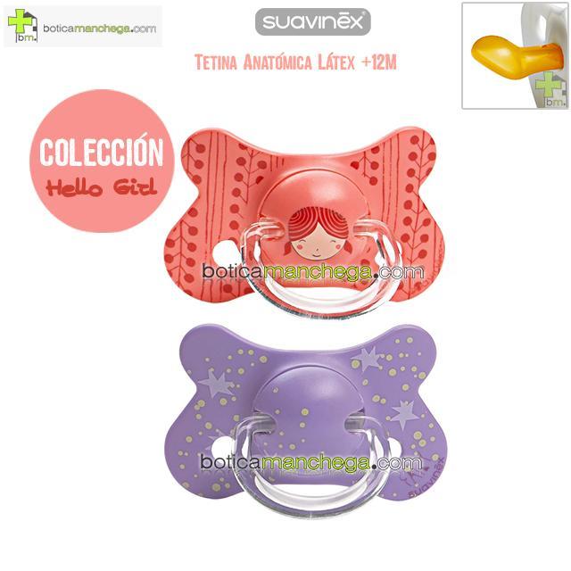 Pack 2 Chupetes Fusion +12M Suavinex Colección Hello Girl Coral / Lila Estrellas, Tetina Anatómica Látex