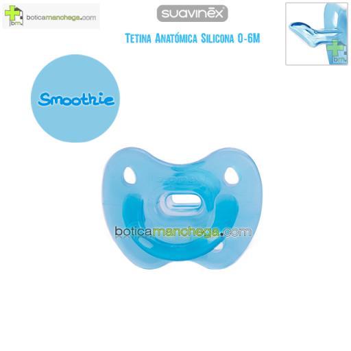 Chupete 0-6M Smoothie Azul Todo Silicona Tetina Anatómica, Colección Clouds Suavinex