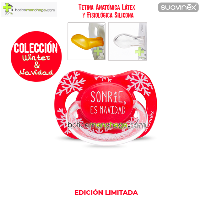 "Chupete WINTER/NAVIDAD Suavinex Modelo ""Sonrie es Navidad"", Tetina Anatómica Látex y Fisiológica Silicona"