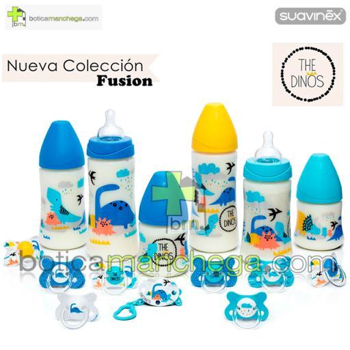Biberón 270 ml +0M Suavinex Tetina Redonda 3 Posiciones Silicona, Nueva Colección TOP TRENDS Modelo The Dinos Azul [1]