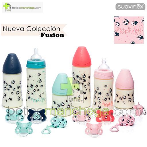 Suavinex Biberón Silicona 150ml +0M Tetina Redonda 3 Posiciones- Nueva Colección TOP TRENDS: Swallows Mint [1]