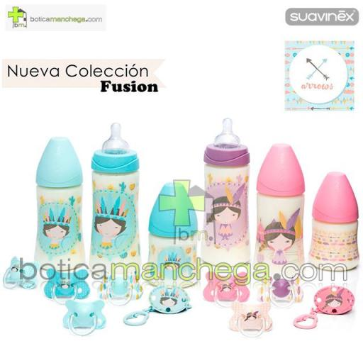 Pack 2 Chupetes Fusion +18M Suavinex Colección Arrows Mod. Indio/Plumas Color Turquesa/Mint/Blanco, Tetina Anatómica Silicona [1]