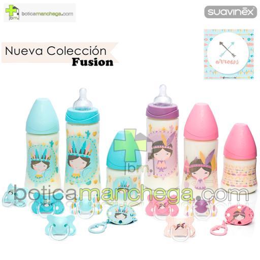 Suavinex Biberón Silicona 150ml +0M Tetina Redonda 3 Posiciones- Nueva Colección TOP TRENDS: Arrows Rosa [1]