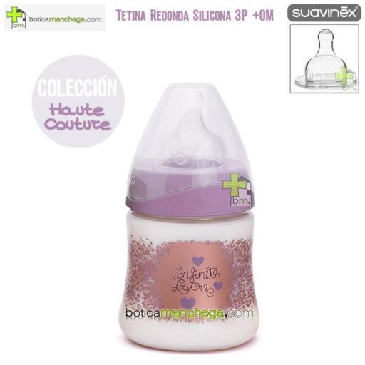 Biberón Silicona 150 ml +0M Suavinex Tetina Redonda 3 Posic. Colección Haute Couture, Mod. Infinite Love
