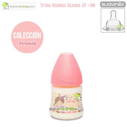 Suavinex Biberón Silicona 150ml +0M Tetina Redonda 3 Posiciones- Nueva Colección TOP TRENDS: Arrows Rosa