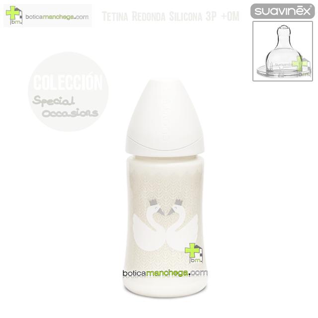 Biberón +0M SPECIAL OCCASIONS Suavinex Tetina Redonda 3P Silicona 270 ml, Limited Collection Modelo Blanco Cisnes