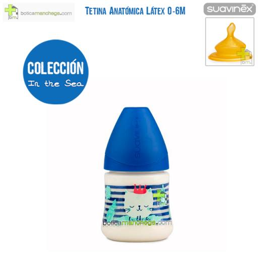 Biberón Látex 150 ml 0-6M Suavinex Tetina Anatómica T1 M, Modelo In The Sea Azul
