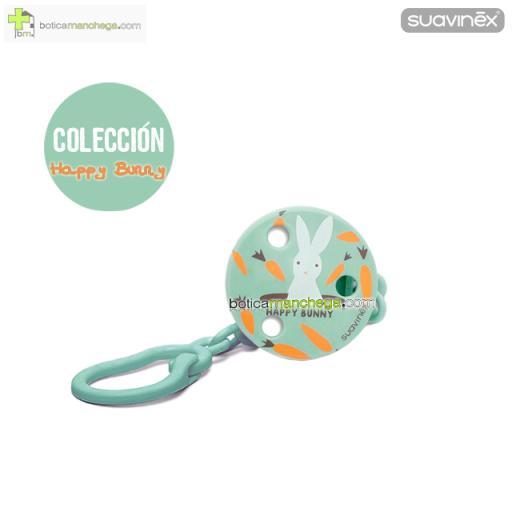 Broche Pinza Redondo +0M Suavinex, Colección Happy Bunny Mod. Verde
