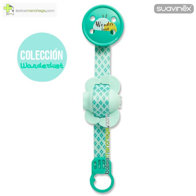 Broche Pinza Suavinex Colección Wanderlust Mod. Verde + Protegetetinas