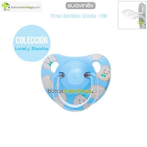 Chupete +12M Suavinex Colección Lovely Biscuits Mod. Galletas Color Azul, Tetina Anatómica Silicona