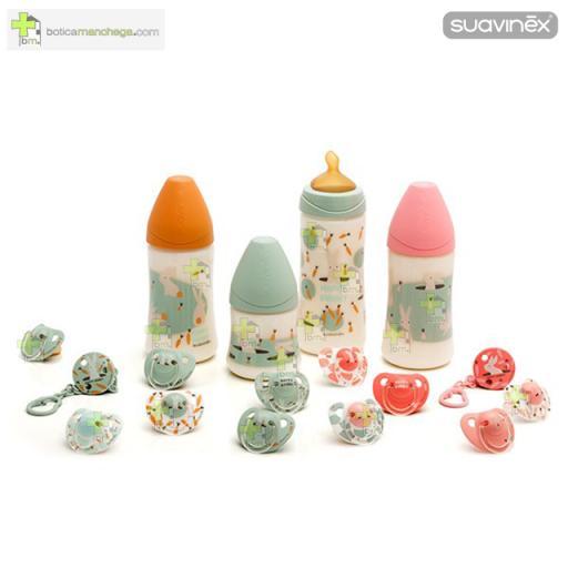 Pack 2 Chupetes 6-18M Suavinex Colección Happy Bunny Mod. Conejo-Zanahorias Rosa-Blanco/Happy Bunny Coral, Tetina Anatómica Látex [1]