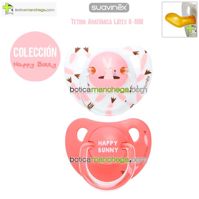 Pack 2 Chupetes 6-18M Suavinex Colección Happy Bunny Mod. Conejo-Zanahorias Rosa-Blanco/Happy Bunny Coral, Tetina Anatómica Látex