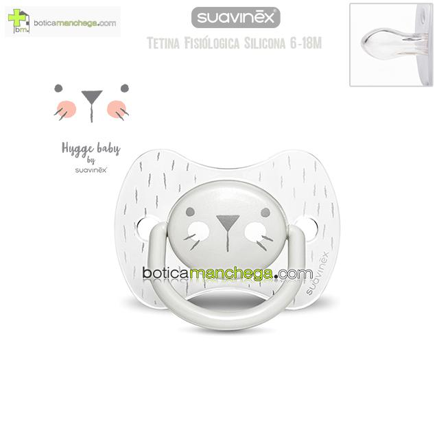 Chupete Premium 6-18M Suavinex Colección Hygge Baby Mod. Transparente/Gris, Tetina Fisiológica Silicona