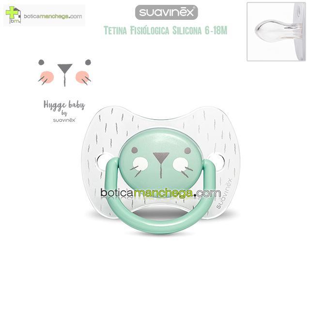 Chupete Premium 6-18M Suavinex Colección Hygge Baby Mod. Transparente/Verde, Tetina Fisiológica Silicona