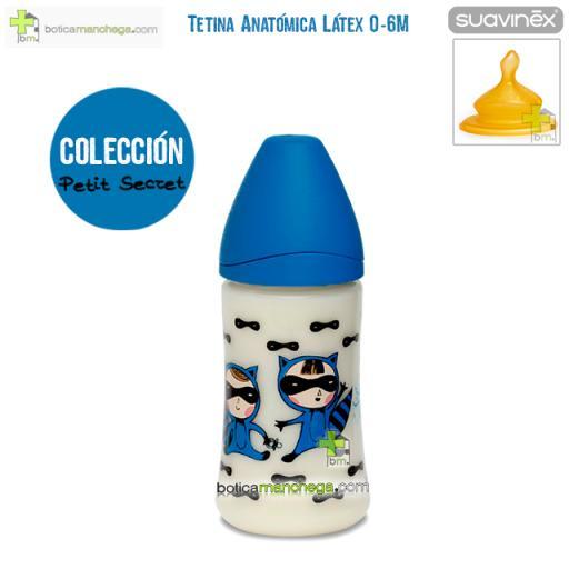Suavinex Biberón Látex 270 ml 0-6M Tetina Anatómica T1 M Colección Petit Secret Mod. Azul