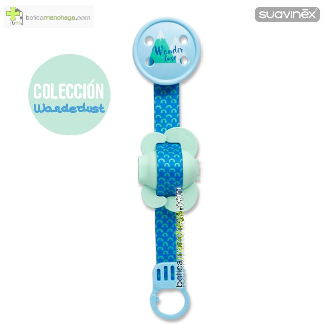 Broche Pinza Suavinex Colección Wanderlust Mod. Azul / Mint + Protegetetinas