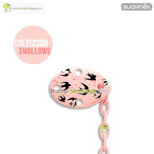 Suavinex Broche Pinza Clip Ovalado +0M - Nueva Colección TOP TRENDS: Swallows, Mod. Golondrinas Rosa