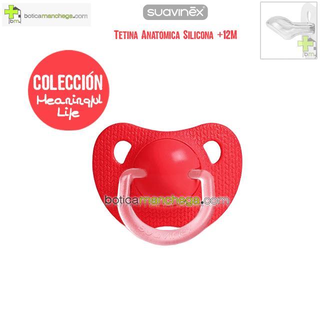 Chupete +12M Suavinex Evolution Tetina Anatómica Silicona Colección Meaningful Life Modelo Rojo