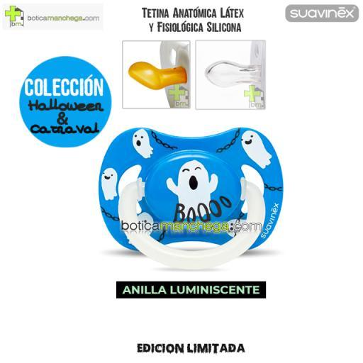 Chupete DISFRACES/CARNAVAL/HALLOWEEN Suavinex Modelo Fantasmas Azul con Anilla luminiscente, Tetina Anatómica Látex y Fisiológica Silicona