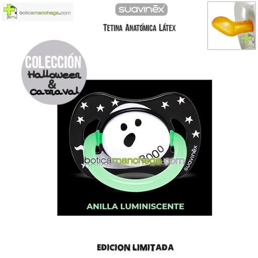 Chupete DISFRACES/CARNAVAL/HALLOWEEN Suavinex Modelo Fantasma Booo con Anilla Luminiscente, Tetina Anatómica Látex [1]
