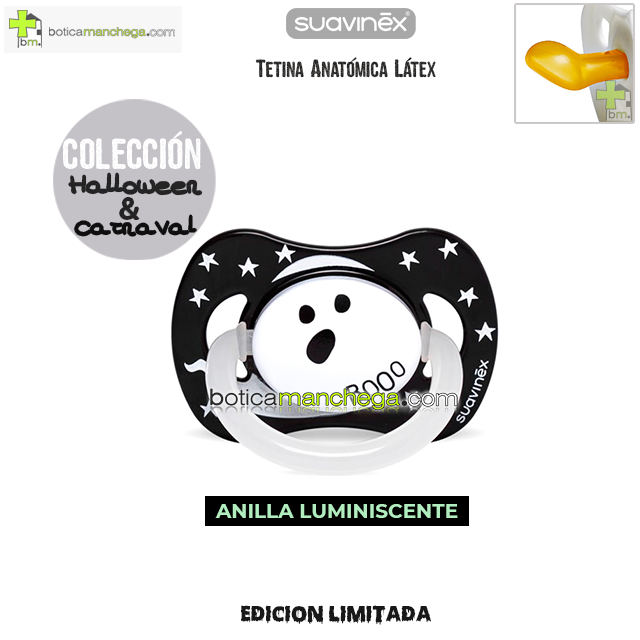 Chupete DISFRACES/CARNAVAL/HALLOWEEN Suavinex Modelo Fantasma Booo con Anilla Luminiscente, Tetina Anatómica Látex