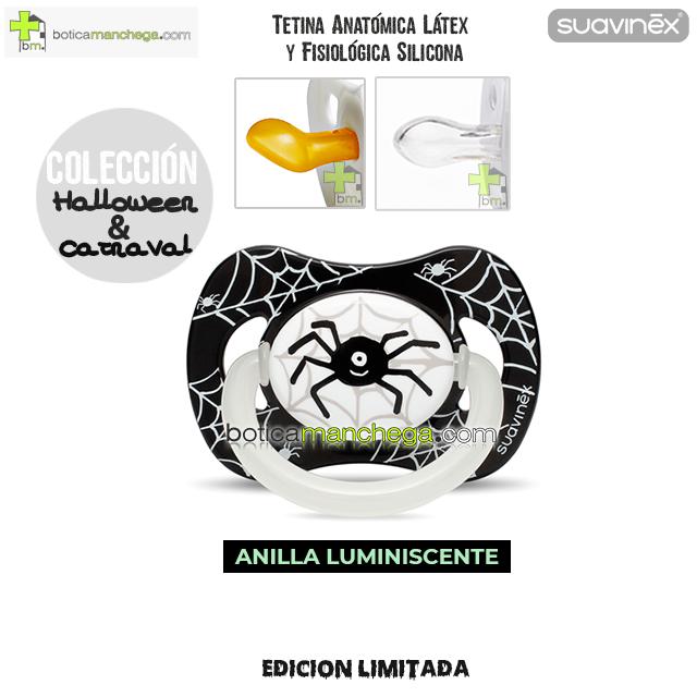 Chupete DISFRACES/CARNAVAL/HALLOWEEN Suavinex Modelo Araña con Anilla luminiscente, Tetina Anatómica Látex y Fisiológica Silicona