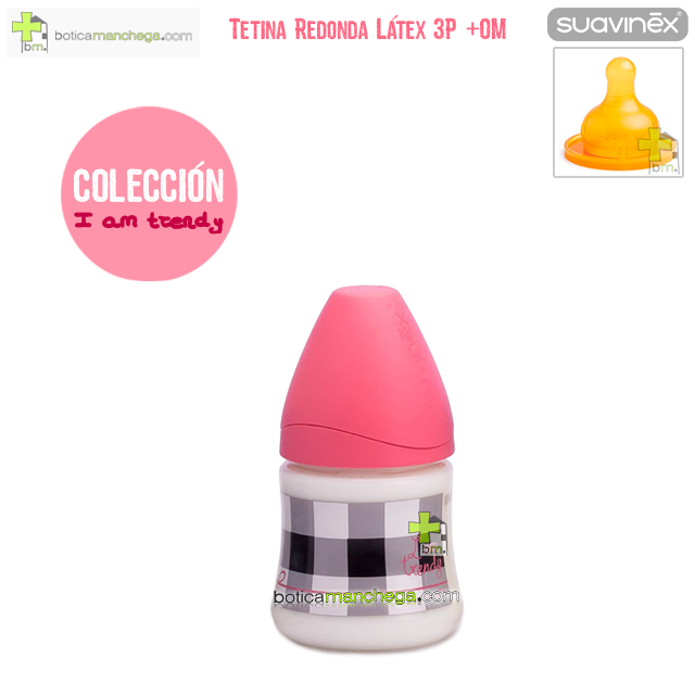 Suavinex Biberón Látex 150 ml +0M Tetina Redonda 3 Posiciones, Modelo I am Trendy