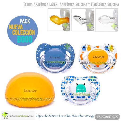 Suavinex Pack Personalizado Nueva Colección BOOO: 3 Chupetes + Concha Portachupetes Amarilla de Regalo [1]