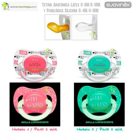 Suavinex Pack Personalizado Night & Day: Chupete con anilla luminiscente + Chupete personalizado, Tetina Anatómica Látex ó Fisiológica Silicona [2]