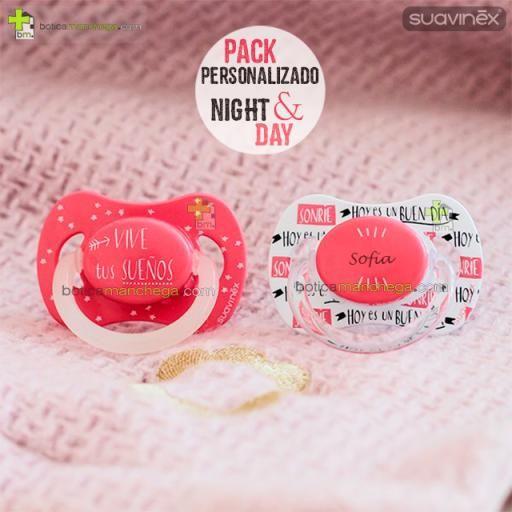 Suavinex Pack Personalizado Night & Day: Chupete con anilla luminiscente + Chupete personalizado, Tetina Anatómica Látex ó Fisiológica Silicona [3]
