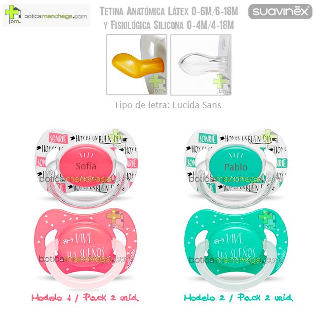 Suavinex Pack Personalizado Night & Day: Chupete con anilla luminiscente + Chupete personalizado, Tetina Anatómica Látex ó Fisiológica Silicona