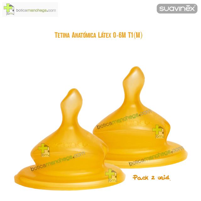 Suavinex Tetina 0-6M T1 (M) Anatómica Látex Flujo Medio, Pack 2 uds.
