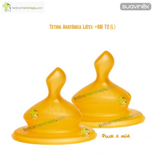 Suavinex Tetina +6M T2 (L) Anatómica Látex Flujo Denso, Pack 2 uds.