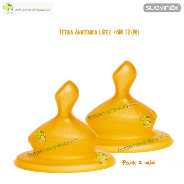 Suavinex Tetina +6M T2 (M) Anatómica Látex Flujo Medio, Pack 2 uds.