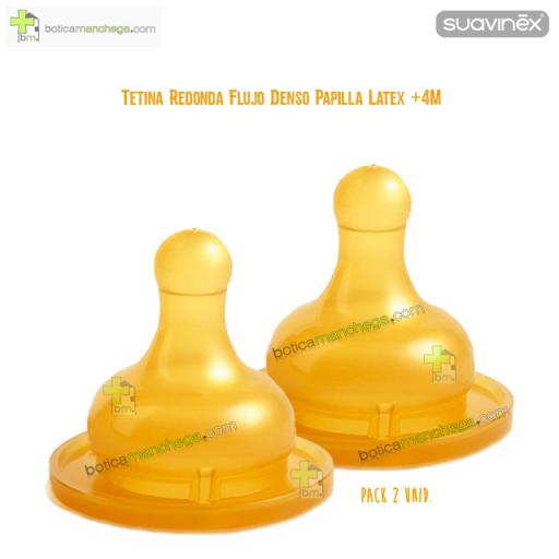 Suavinex Tetina Flujo Denso Papilla +4M Redonda Látex Boca Ancha, Pack 2 uds