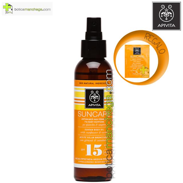 Aceite bronceador corporal SPF15 Apivita Suncare con Girasol y Zanahoria, 150 ml. REGALO: Producto Facial Línea Apivita Suncare a Elegir, 2 ml