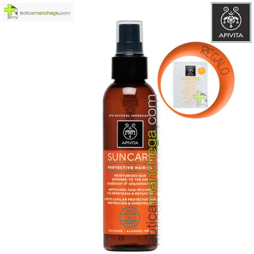Aceite Capilar Protector Solar Hidratación y Protección Apivita con Aceite de Girasol y Abisinia, 150 ml. REGALO: Producto Facial Línea Apivita Suncare a Elegir, 2 ml
