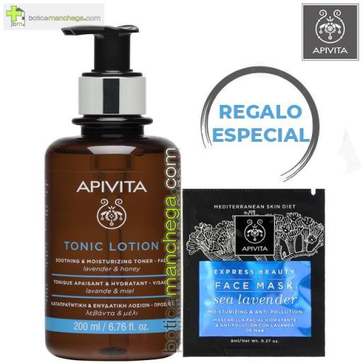 PROMO Tónico Calmante - Hidratante Apivita Rostro con Lavanda y Miel, 200 ml + REGALO ESPECIAL Mascarilla Facial, 8 ml