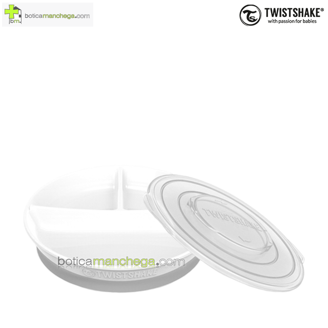 Twistshake Plato dividido con Tapa y Base antideslizante +6M, color Blanco